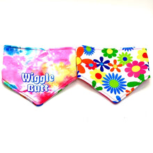 Load image into Gallery viewer, WIGGLE BUTT / FLOWERS REVERSIBLE DOG BANDANA