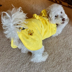 Dripping Dog Bathrobe with Paw Print & Heart Embroidery