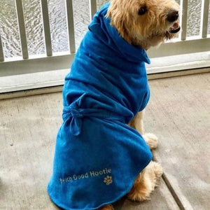 Beach Dood Hootie in Blue Dripping Dog Bathrobe