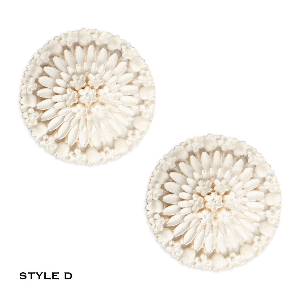 White Vintage Floral Celluloid Earring Collection