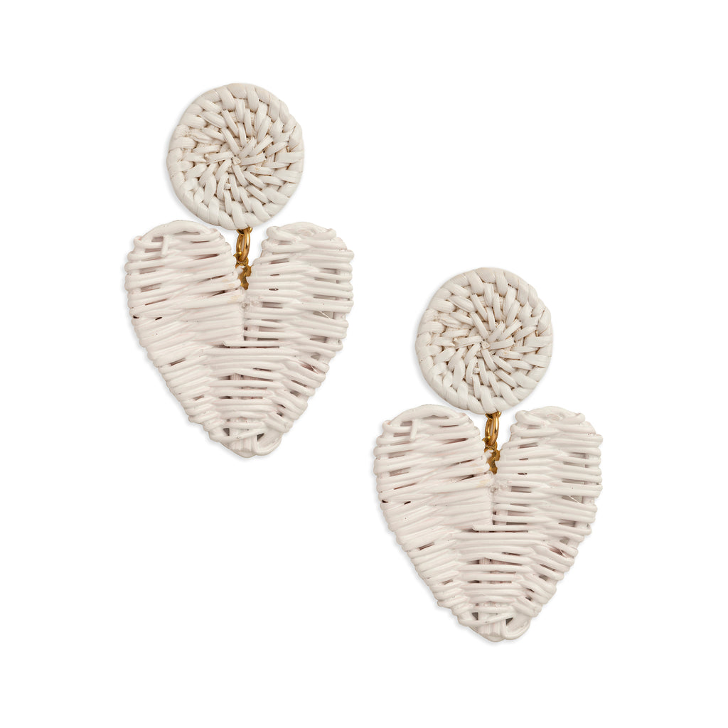 Hyacinth Rattan Heart Earrings