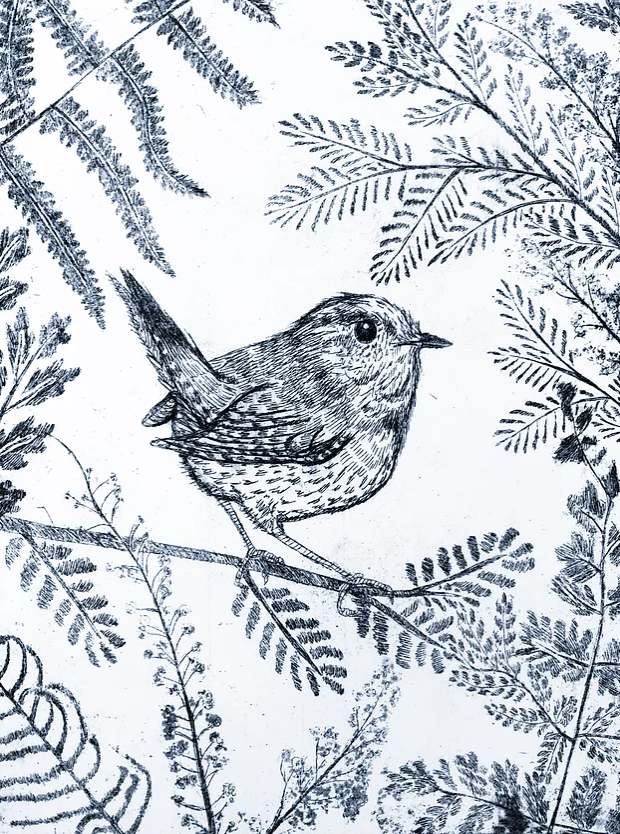 Jenny Wren in Black with Hand Embellishment