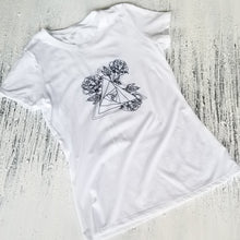 Load image into Gallery viewer, Triflower White Crewneck Tee