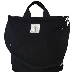 Andlo Casual Corduroy Black Shoulder Bag