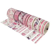 Load image into Gallery viewer, Spring Flowers Pink Washi Tape Set
