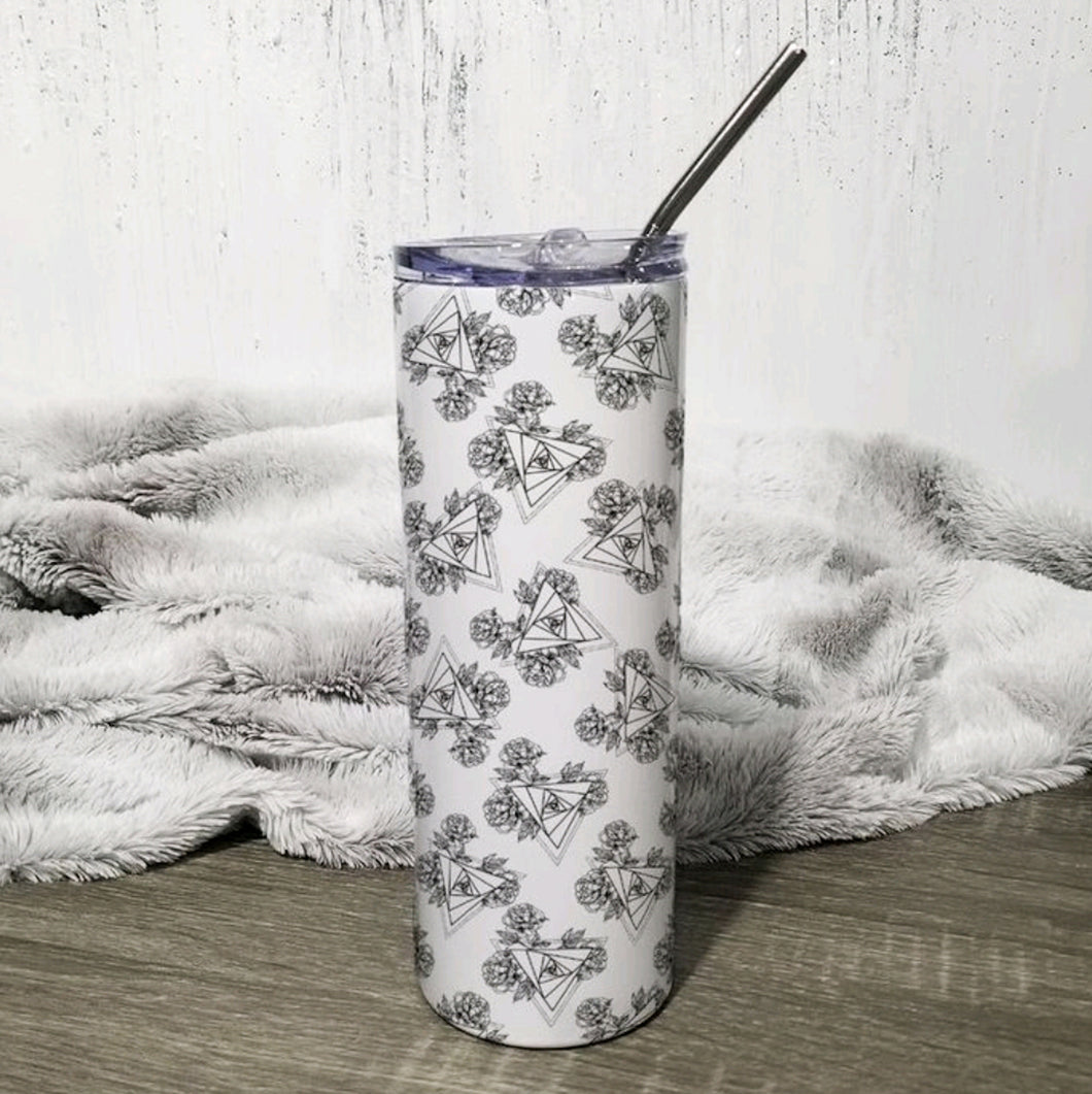 All Over Triangles 20oz Skinny Travel Tumbler