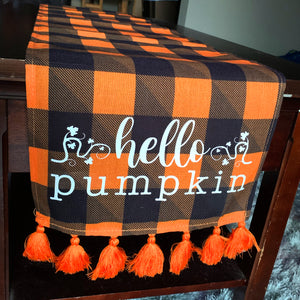 Hello Pumpkin Fall Table Runner 72 in x 12 in