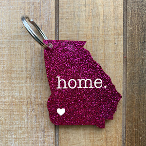 Glitter Home State Keychain With Heart on City
