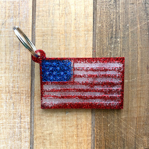 Glitter Resin United States Flag Keychain