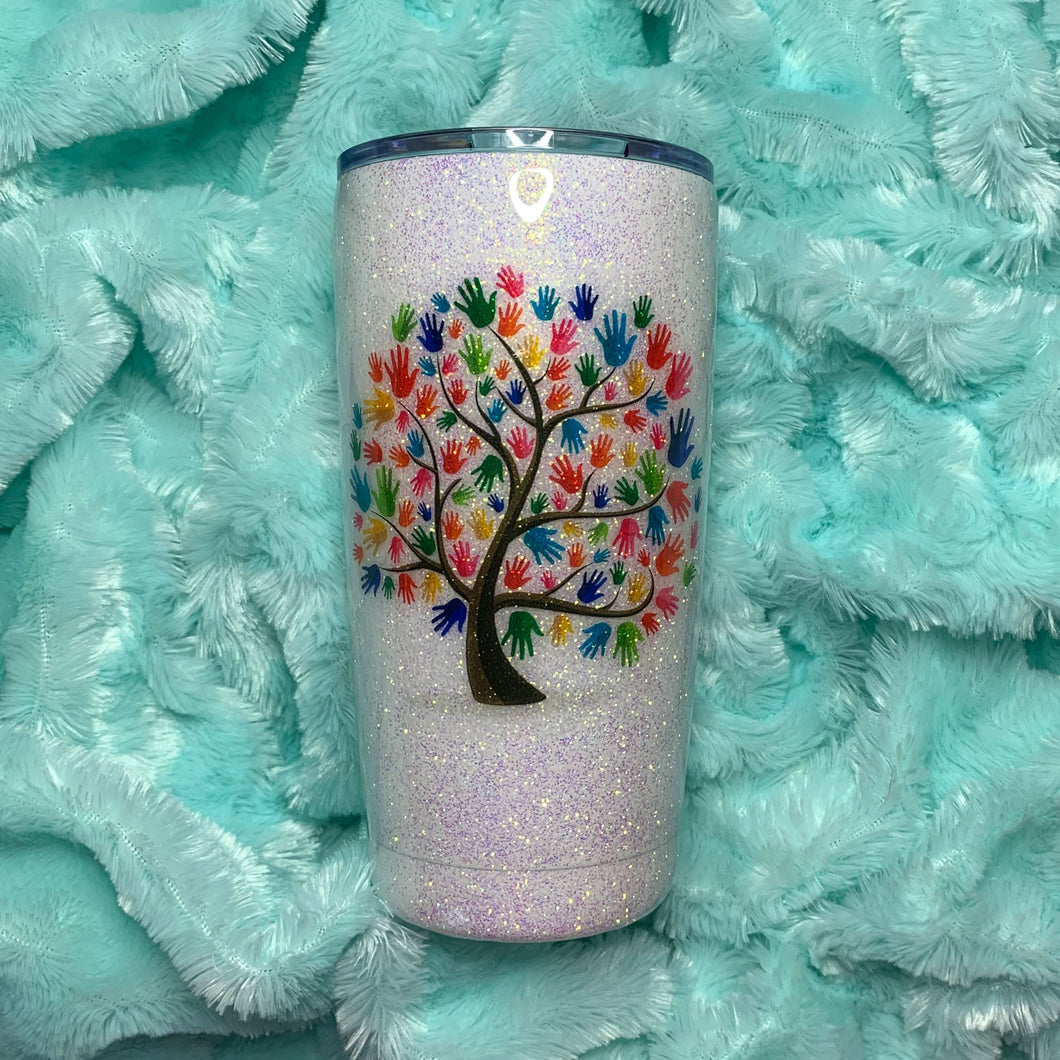 Custom Social Worker Hand Tree Glitter Insulated Tumbler