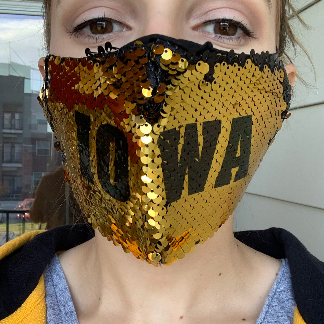 Iowa Hawkeyes Reversible Sequin Face Mask