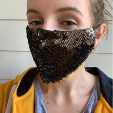 Load image into Gallery viewer, Iowa Hawkeyes Reversible Sequin Face Mask