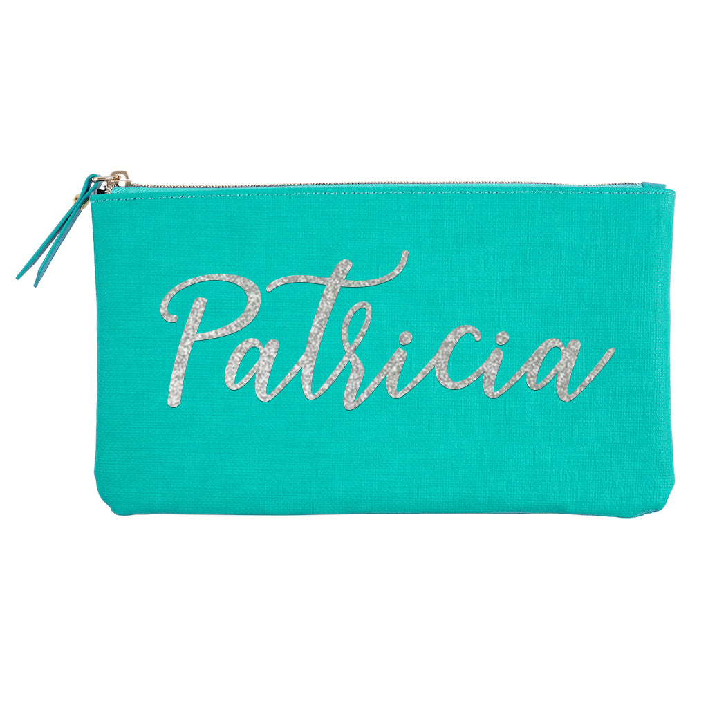Teal Accessory Pouch With Custom Name