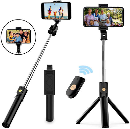 YTOM Selfie Stick, 3 in 1 Extendable Selfie Stick Tripod with Detachable Bluetooth Wireless Remote Phone Holder For smartphone