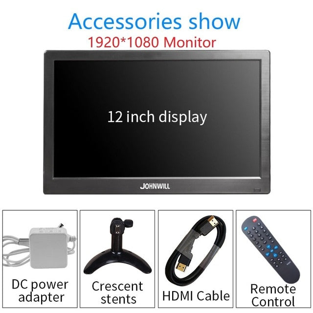 12''1920x1080P HD Portable Display with HDMI VGA Interface LCD Gaming Monitor for PS4 Macbook Pro Home Security System