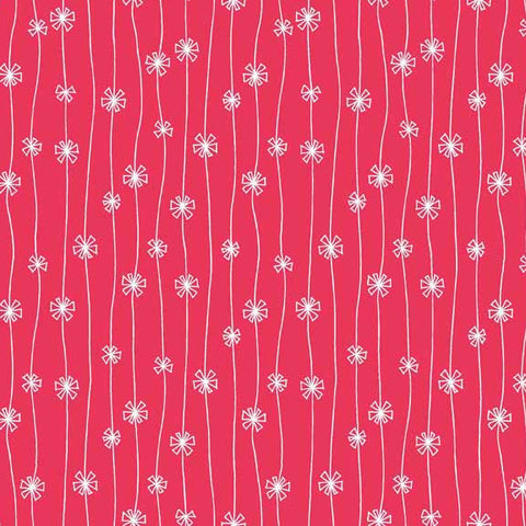 Makower Beth Studley Meadow 1284/R Daisy Chain Red