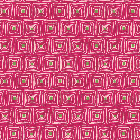 Makower Beth Studley Walkabout 1386/P Squares Pink