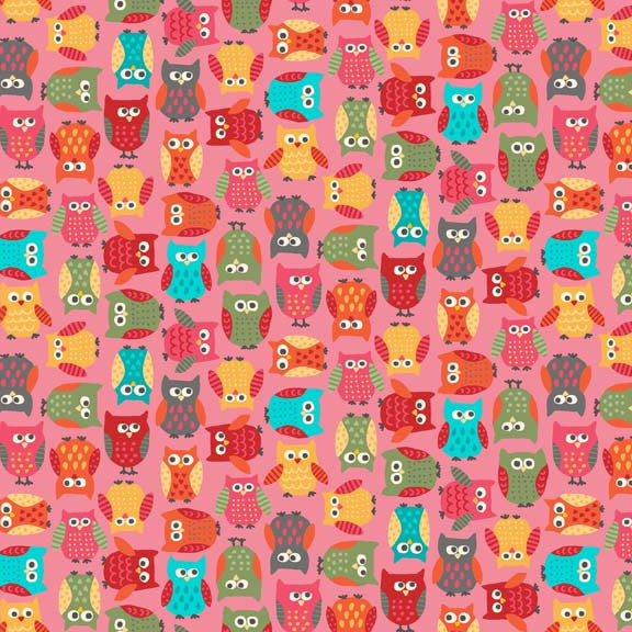 Makower Little Monsters 1410/P Owls Pink