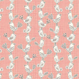 Makower Sophia 1544/P Bird Pink