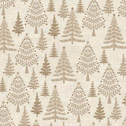 CHRISTMAS Makower Scandi 3 1592/Q Trees Sandy Hessian