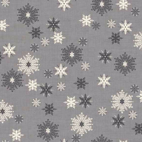 CHRISTMAS Makower Scandi 3 1594/S Snowflakes Grey