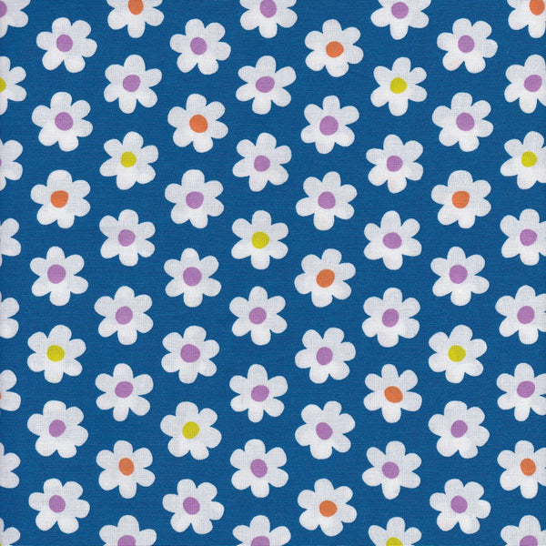 Sevenberry 85005/2D3-4 White Flowers On Blue