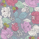 Sevenberry Cotton Drill 87503D9-4 Large Roses Grey