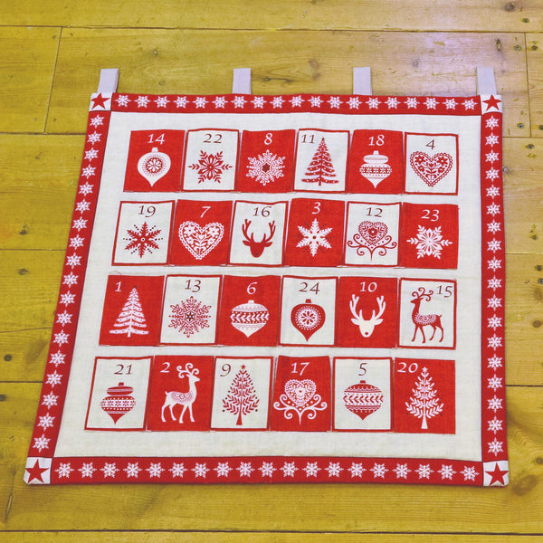 CHRISTMAS Makower Scandi 3 1595/1 Red Advent Calendar