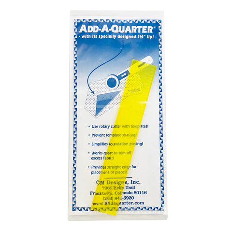 "Add-a-quarter Ruler 6"" Yellow with 1/4"" Lip AQ6"