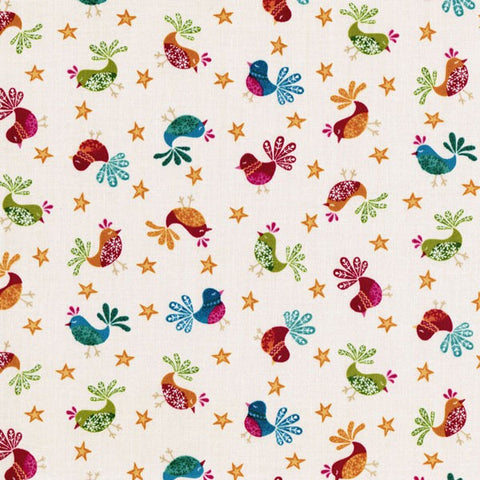 CHRISTMAS Makower Cool Yule 1232/Q Cream Birds