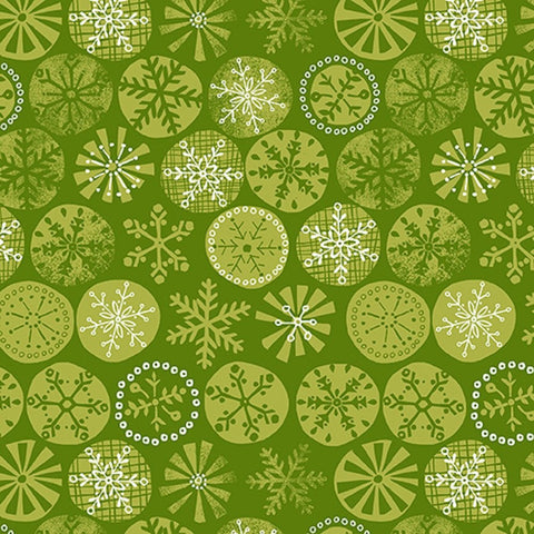 CHRISTMAS Makower Cool Yule 1231/G Green Snowflake
