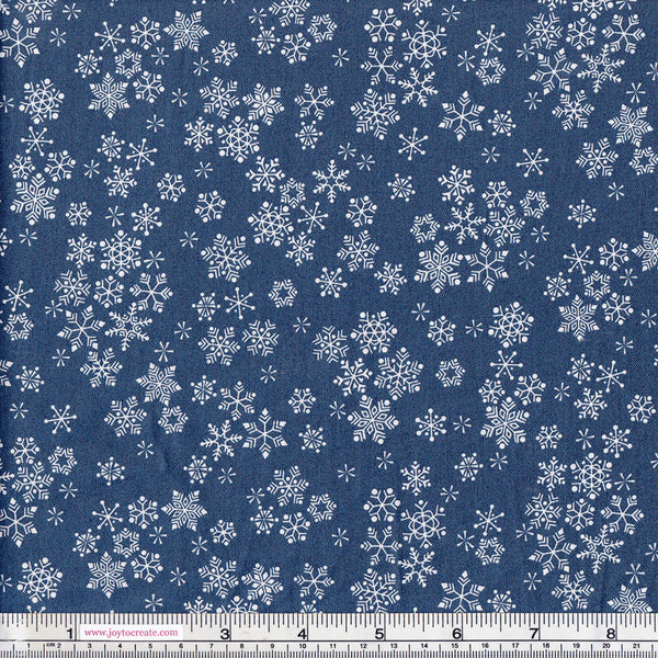 CHRISTMAS Makower 2016 Frosty 1585 Snowflakes Navy