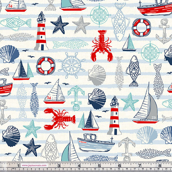 Makower Sail Away 2207/Q Icons Cream