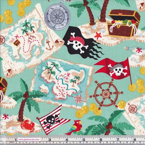 Makower Pirates 1671/1 Teal Background