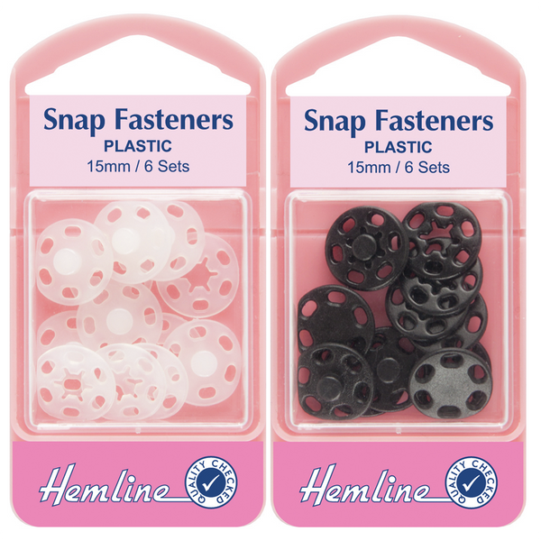 Hemline Plastic Snap Fasteners/Poppers White/Black 15mm H424/H424.B