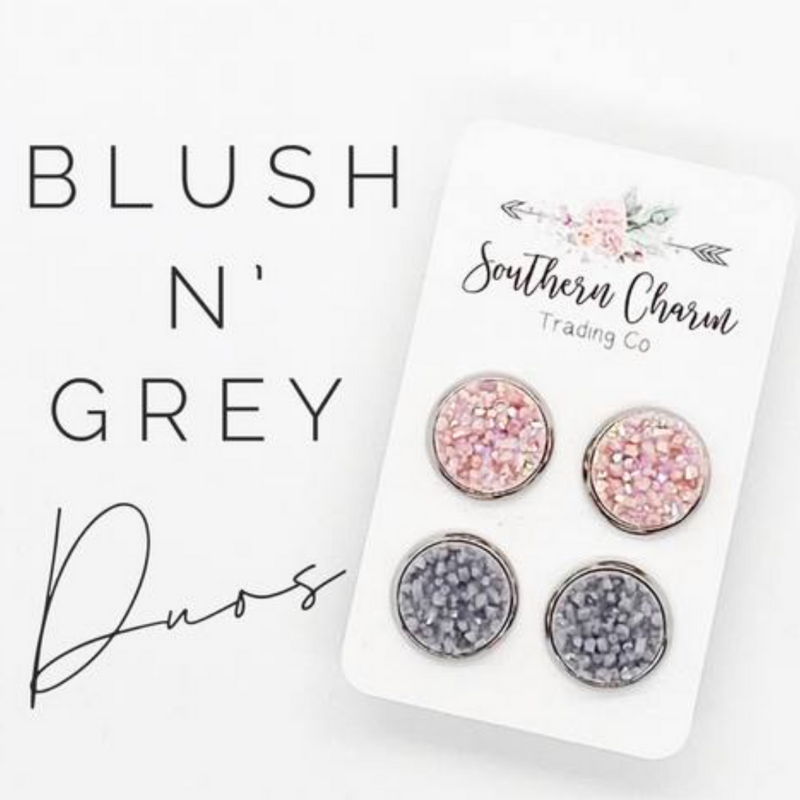 Blush & Grey Shimmer (Stainless Steel Settings)
