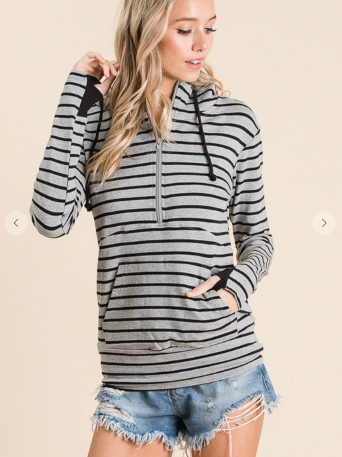On the Go Striped Hoodie (Grey/Black)