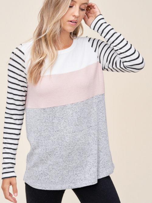 Feels Right Blush Striped Top