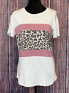 Made Perfect Animal Print and Mauve Detailed Top