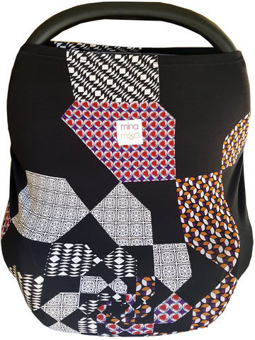 Black geo fitted infant car seat cover