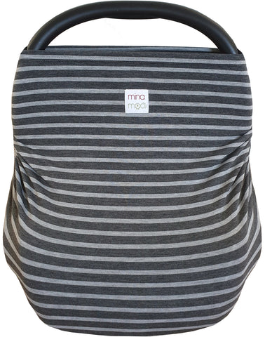 Charcoal melange stripe fitted infant car seat cover