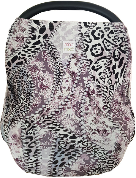 Leopard print fitted infant car seat cover
