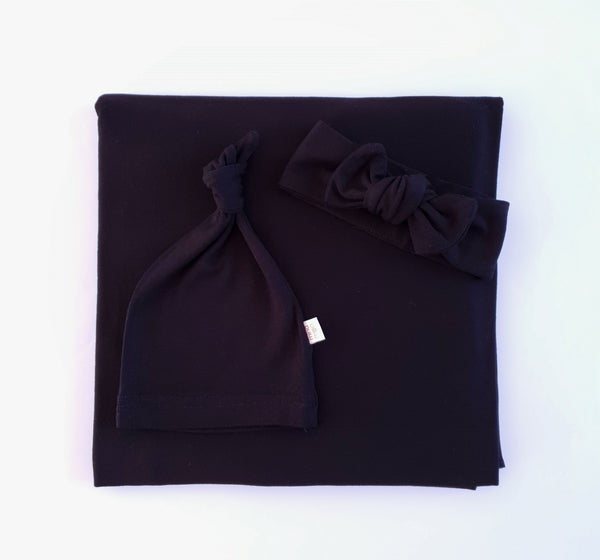 Jet black swaddle set