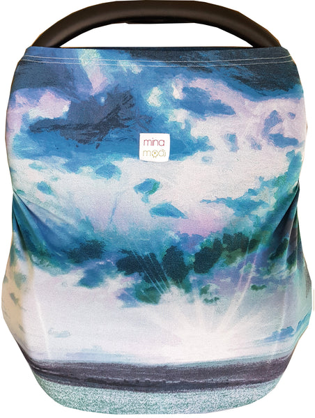 Watercolour sky infant car seat / nursing cover