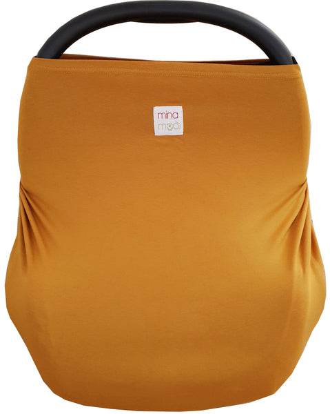 Mustard fitted infant car seat cover