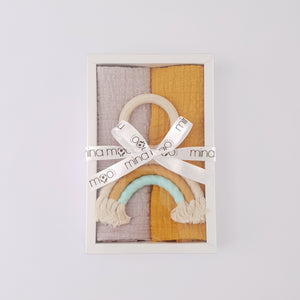 Rainbow Muslin gift box - Neutral