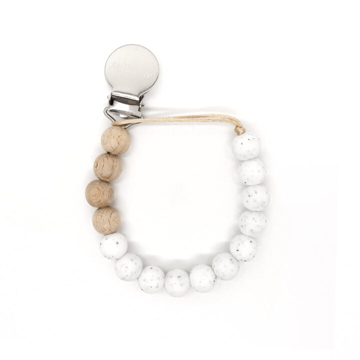 Speckled white beaded pacifier clip