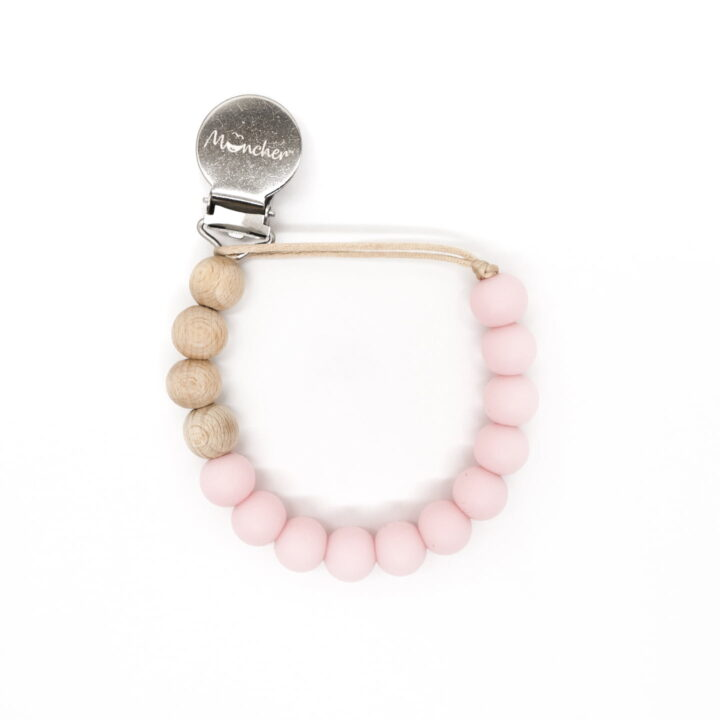Blush beaded pacifier clip