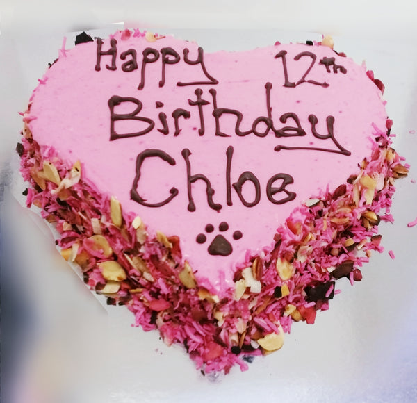 Carob, Coconut and Almond Heart Shaped Dog Birthday Cake