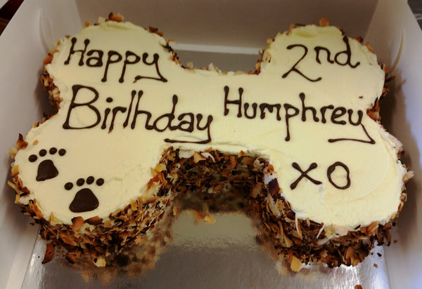 Dog Birthday Bone Cake: Carob, Coconut and Almond